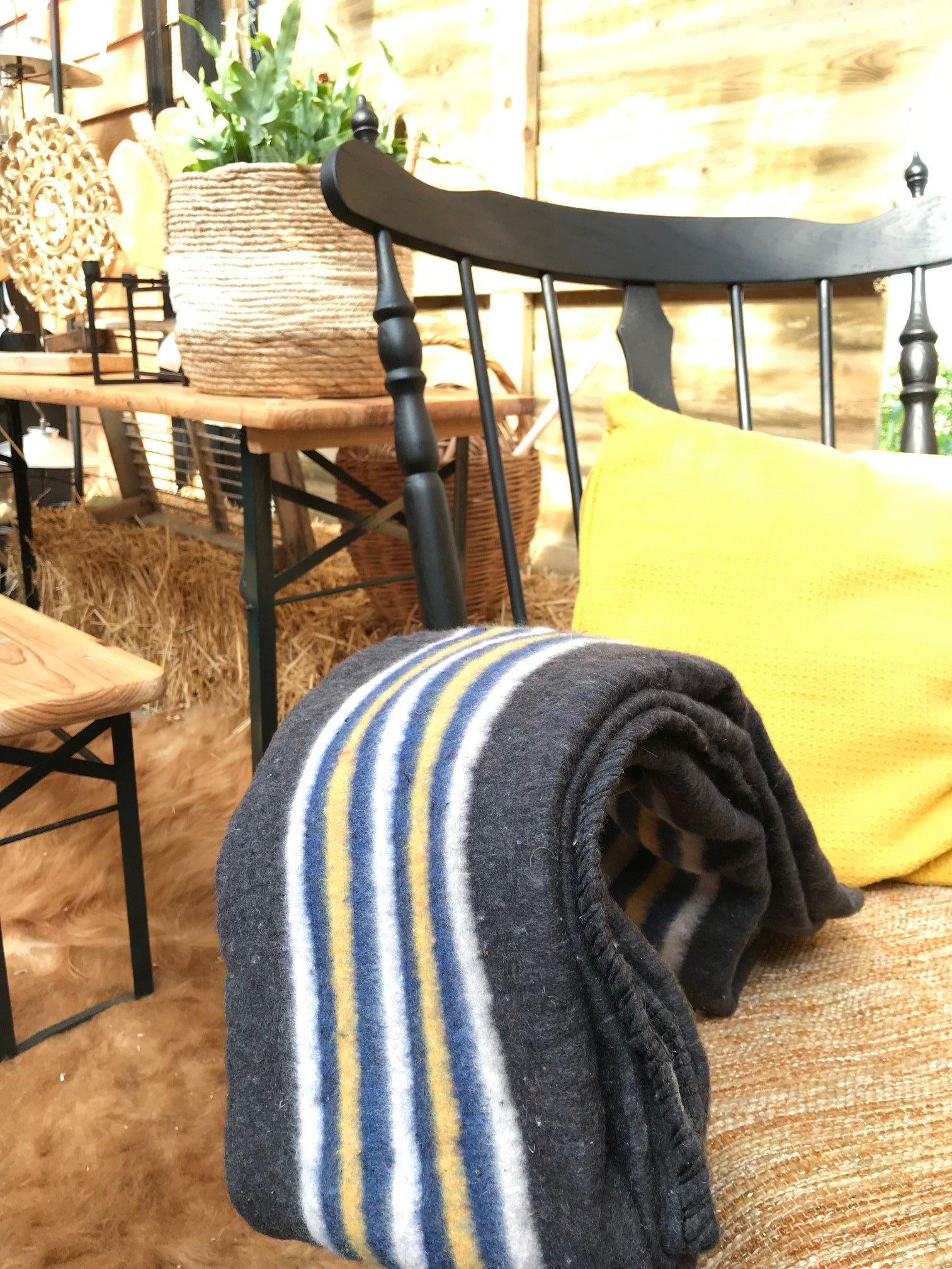 Stoere deken blauw geel wit gestreept met basiskleur grijs