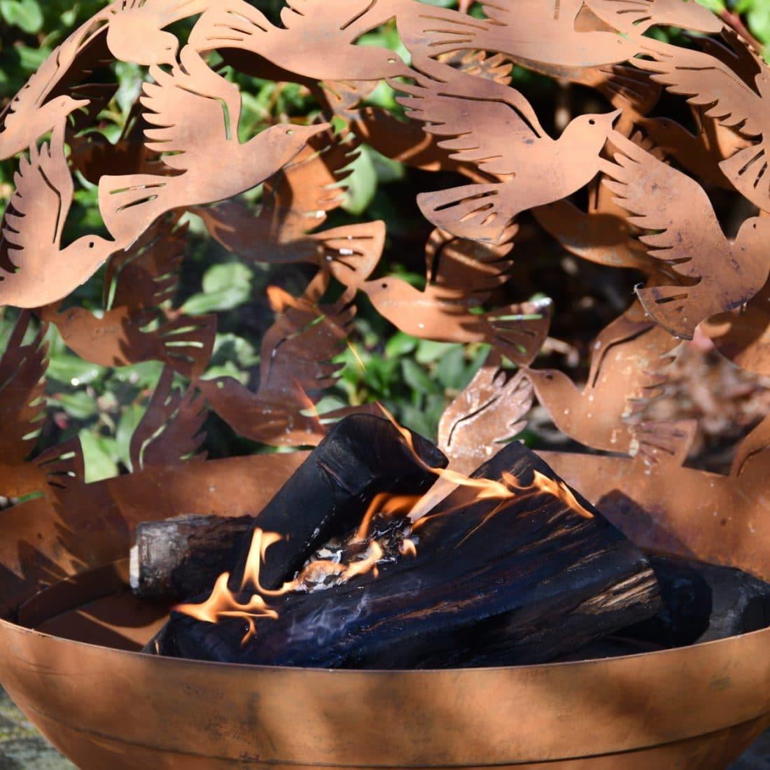 Vuurbal tuinhaard met vogel motief