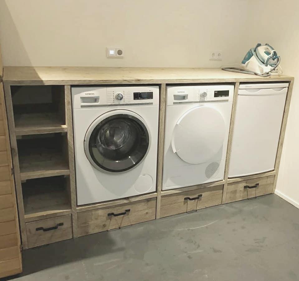 Steigerhouten Wasmachine Ombouw Xl